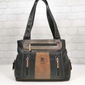 Кожена чанта Еврика черно с кафяво - EvrikaShop