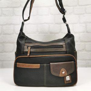 Ежедневна дамска чанта Еврика черно с кафяво - EvrikaShop