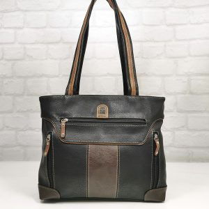 Чанта Еврика черно с тъмно кафяво - EvrikaShop