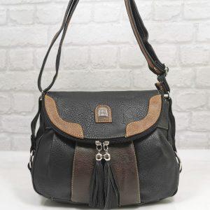 Ежедневна чанта Еврика черно с кафяво - EvrikaShop