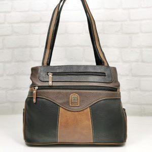 Дамска чанта Еврика черно с кафяво - EvrikaShop