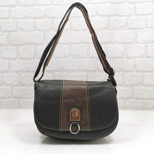 Дамска чанта Еврика в черно с кафяво - EvrikaShop