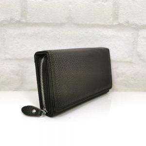 Дамско портмоне от естествена кожа тъмно кафяво - EvrikaShop
