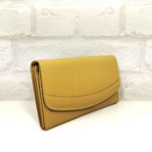 Дамско портмоне естествена кожа жълто, голямо - EvrikaShop
