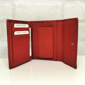 Дамско портмоне естествена кожа черно с червено - EvrikaShop
