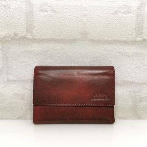 Дамско портмоне естествена кожа черно с червено винтидж