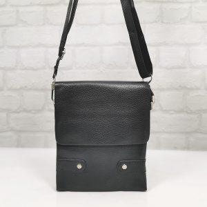 Мъжка чанта естествена кожа черна, средно голяма - EvrikaShop