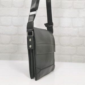Черна мъжка чанта естествена кожа, средна - EvrikaShop