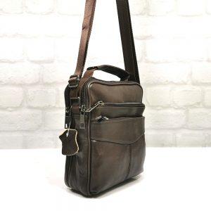 Чанта мъжка тъмно кафява кожа,средно голяма - EvrikaShop