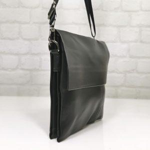 Мъжка чанта от черна кожа, голяма - EvrikaShop