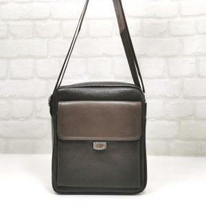 Мъжка чанта тъмно кафява кожа, средна големина - EvrikaShop