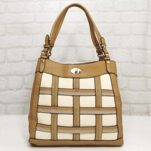 Дамска чанта Мария С горчица в три цвята - EvrikaShop