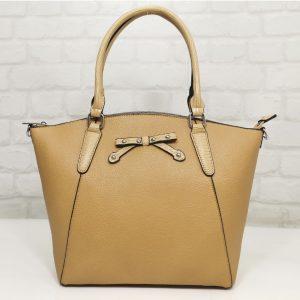 Дамска чанта Мария С тъмно бежова - EvrikaShop