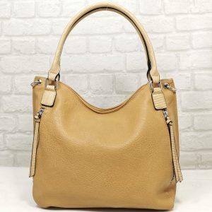 Дамска чанта Мария С тъмно бежова от Италия - EvrikaShop