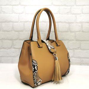 Чанта Мария С тъмно бежова малка - EvrikaShop