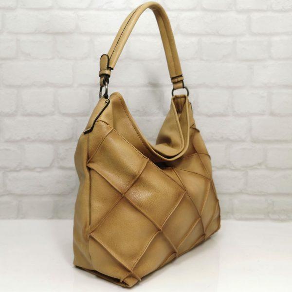 Дамска чанта Мария С бежова от Италия - EvrikaShop