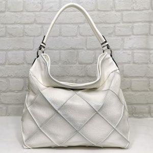 Дамска чанта Мария С бяла от Италия - EvrikaShop