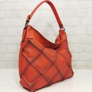 Дамска чанта Мария С червена от Италия - EvrikaShop