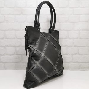 Дамска чанта Мария С черна от Италия - EvrikaShop