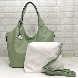 Чанта Мария двулицева зелено/бяло - EvrikaShop