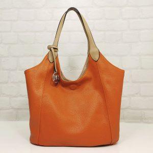 Чанта Мария двулицева бежово/оранжево - EvrikaShop