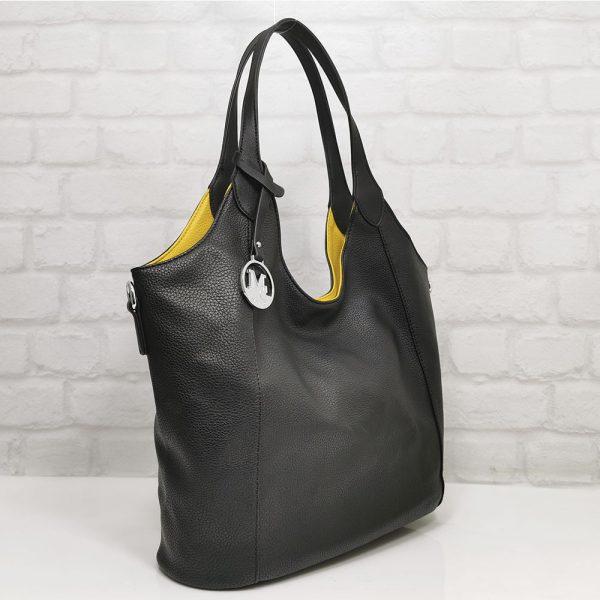 Чанта Мария двулицева черно/жълто - EvrikaShop