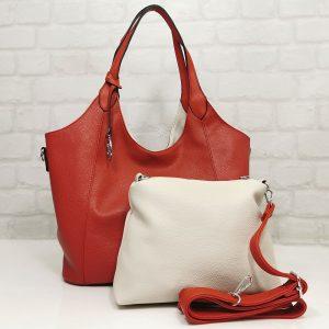 Чанта Мария двулицева червено/екрю - EvrikaShop