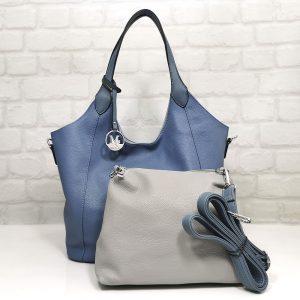 Чанта Мария С двулицева синьо/сиво - EvrikaShop