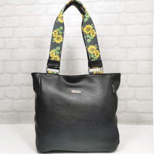 Чанта Еврика черна с шарена дръжка - EvrikaShop