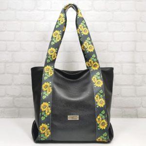 Дамска чанта Еврика черна с шарена дръжка - EvrikaShop