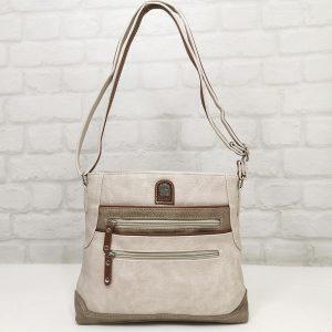 Дамска чанта Еврика екрю от еко кожа - EvrikaShop