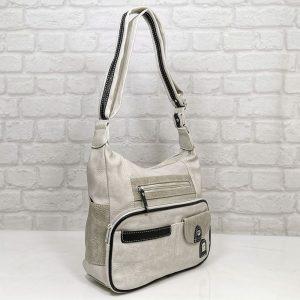 Чанта Еврика мръсно бяло със сиво - EvrikaShop