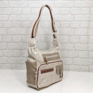 Дамска чанта Еврика екрю с бежово - EvrikaShop