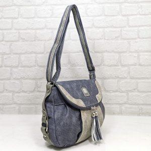 Дамска чанта Еврика еко кожа имитация на дънков плат - EvrikaShop