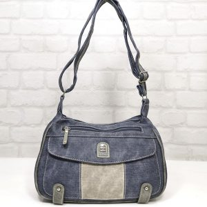 Чанта Еврика еко кожа имитация на дънков плат - EvrikaShop