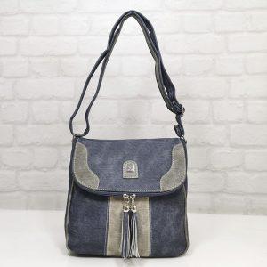 Дамска чанта Еврика еко кожа, имитация на дънков плат - EvrikaShop
