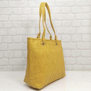 Дамска чанта Еврика жълта от еко кожа - EvrikaShop