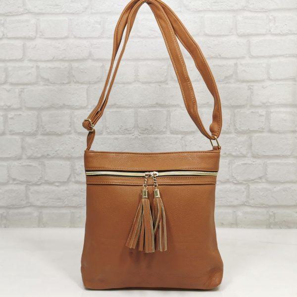 Дамска чанта Еврика коняк от еко кожа - EvrikaShop