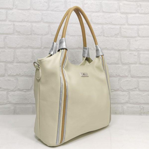 Спортно-елегантна дамска чанта Еврика екрю от еко кожа - EvrikaShop
