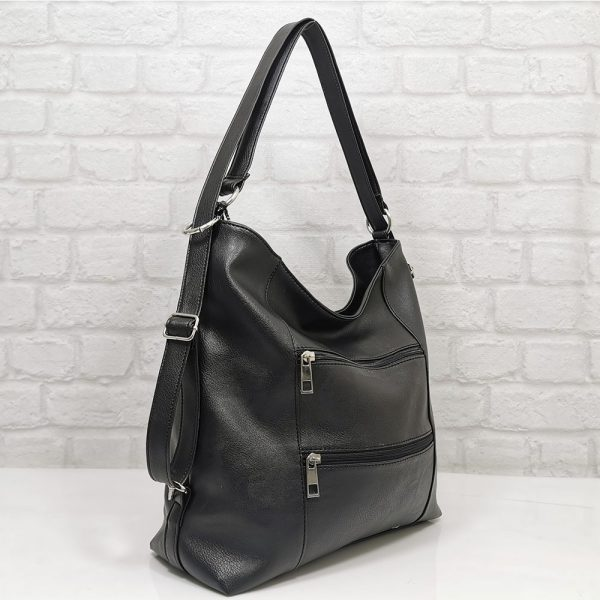 Чанта-раница Еврика черна от еко кожа - EvrikaShop