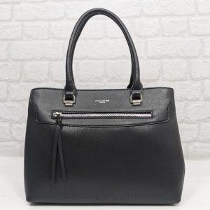 Стилна чанта David Jones черна с три отделения - EvrikaShop