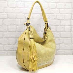Дамска чанта Мария С жълта с лъскав ефект - EvrikaShop
