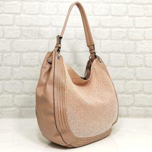 Чанта Мария С розова с лъскав ефект - EvrikaShop