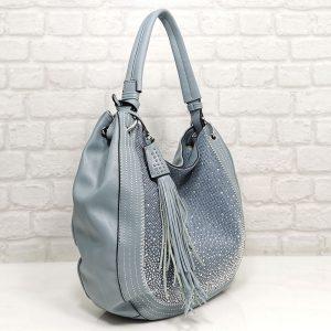 Дамска чанта Мария С синя с лъскав ефект - EvrikaShop