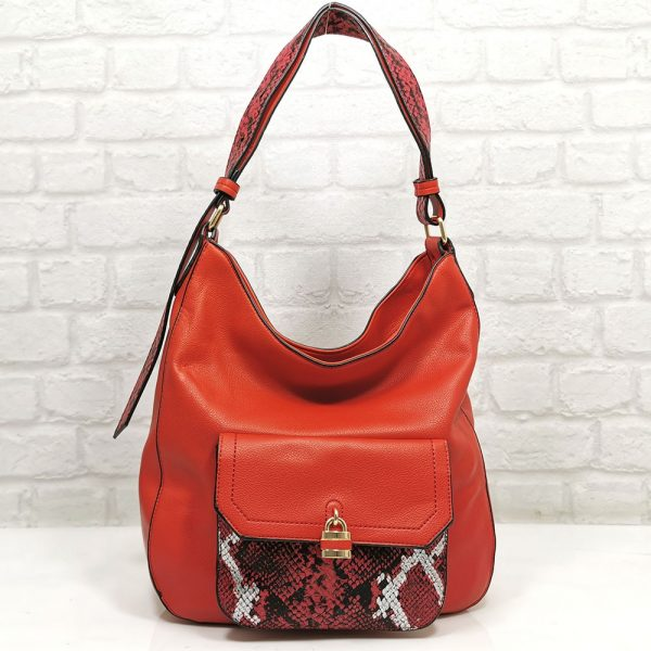 Дамска чанта Мария червена от Италия - EvrikaShop