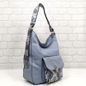 Дамска чанта Мария синя от Италия - EvrikaShop
