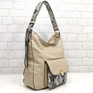 Дамска чанта Мария бежова от Италия - EvrikaShop