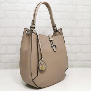 Елегантна чанта Мария С бежова от Италия - EvrikaShop