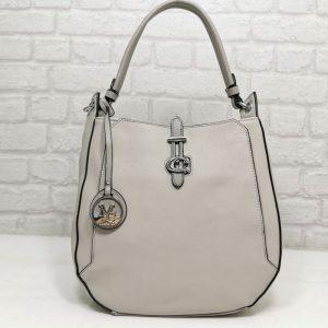 Дамска чанта Мария С светло сива от Италия - EvrikaShop