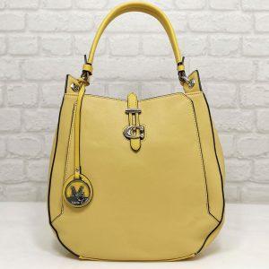 Италианска чанта Мария С жълта от еко кожа - EvrikaShop